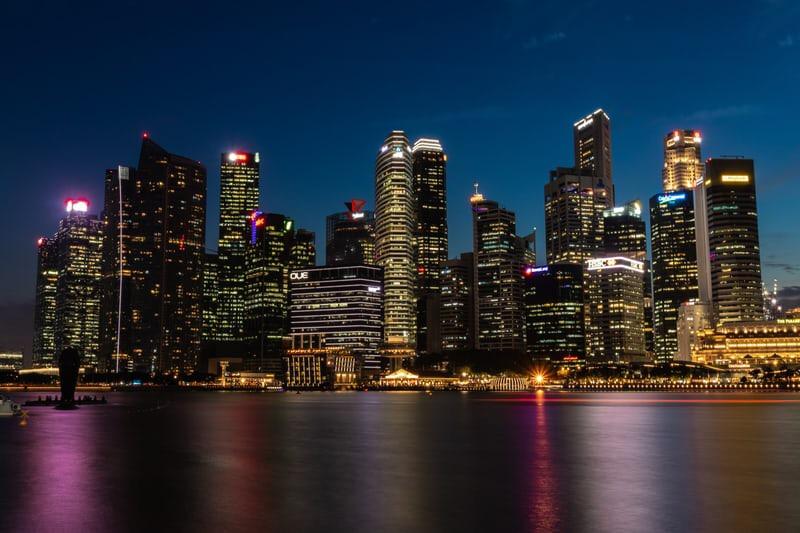 シンガポールのホテルの夜景